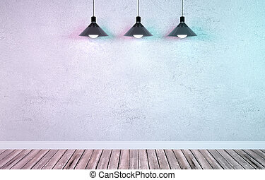 Underground showroom with three hanging metal lamps