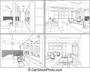 interior, rum, kontor