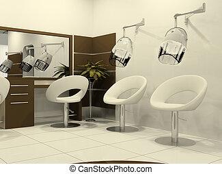 interior, salón, peluquería, lujoso