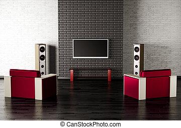 interior, sala de estar, 3d