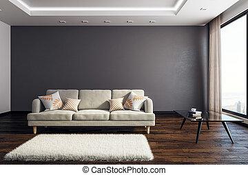 interior, sala de estar, copyspace, contemporâneo
