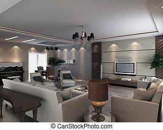 interior, sala de estar, moderno, render, 3d