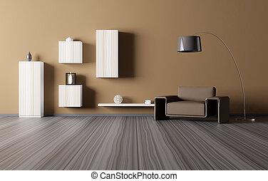interior, sala de estar, render, 3d