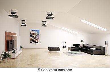 interior, sala de estar, render, 3d