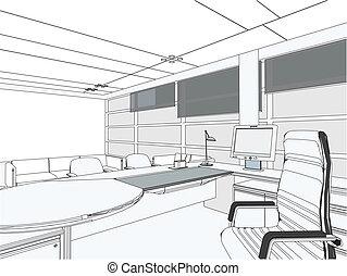 interior, sala, escritório