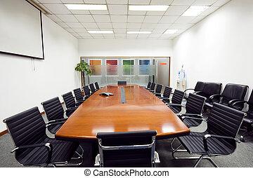 Interior, sala reuniões, modernos, escritório