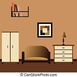 interior, sala, vista