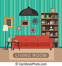 interior., salle, vivant