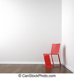 white corner room with red chair