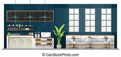 Interior scene of modern coffee shop with counter bar , tables and chairs 1