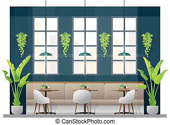 Interior scene of modern restaurant with tables and chairs for customer 1