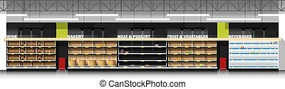 Interior scene of modern supermarket with empty shelves