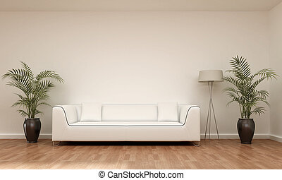 interior 3d scene with sofa, flowers and lamp