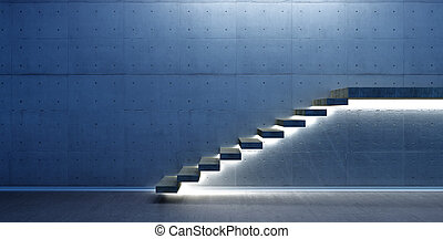 Interior scene with stair and light - abstract interior...