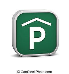 interior, señal de estacionamiento