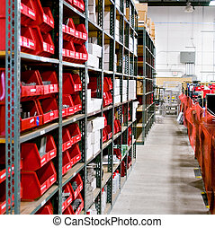warehouse - Interior shot of the bins of a warehouse