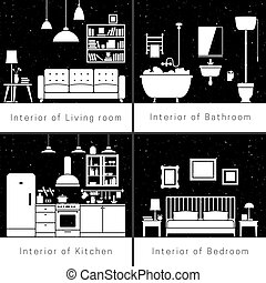 Interior silhouettes of flat rooms. Vector black and white...
