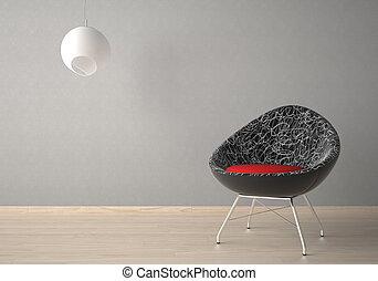 interior, sillón, lámpara, diseño