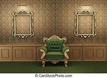 interior, sillón, marco, barroco, lujoso