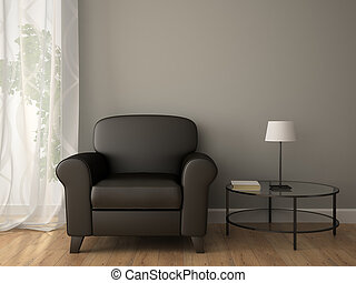 interior, sillón, parte