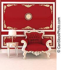 interior, sillón, real, rojo, lujoso