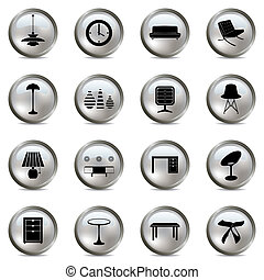 Interior silver icons set
