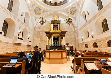 interior, sinagoga, hurva