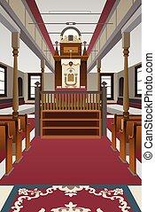 interior, sinagoga, ilustración