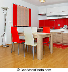 domestic kitchen - Interior, small apartment, domestic...