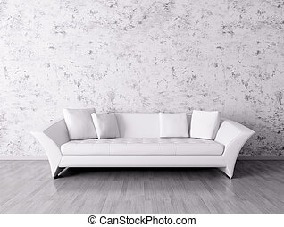 interior, sofá, blanco, moderno