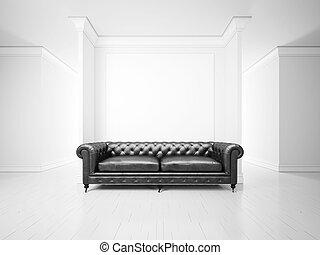 interior, sofá, branca, bandeira