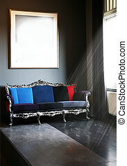 interior, sofá, clásico