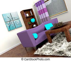interior, sofá, contemporâneo