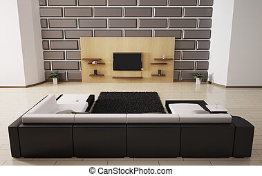 interior, sofá, lcd, 3d