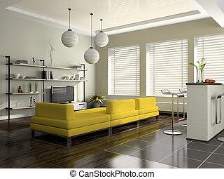 interior, sofá, modernos, amarela