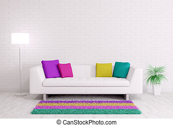 interior, sofá, modernos, render, 3d