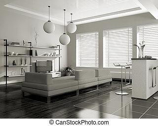 interior, sofá, modernos, (sepia)