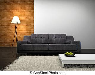 interior, sofá, parte, modernos