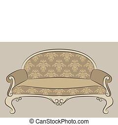 interior, sofá, vendimia