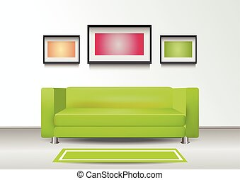 interior, sofá, verde