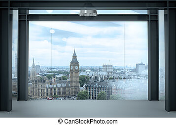 interior space of modern empty office interior with london city background