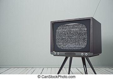 interior, televisión, retro