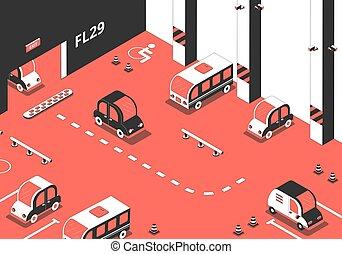 interior, terreno, composición, estacionamiento