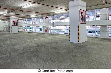 interior, terreno, estacionamiento