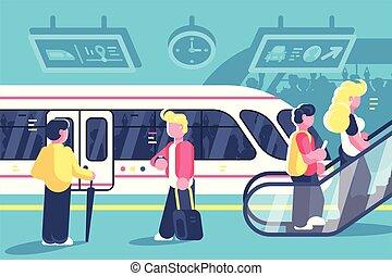 interior, trem, escada rolante, metrô, pessoas