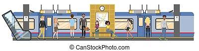 interior, trem ferrovia, metrô, ilustração