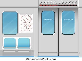 interior, trem, metrô