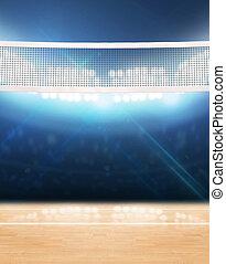 interior, tribunal, voleibol, floodlit