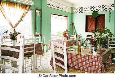 interior typical restaurant Caribbean St. Lucia - typical...