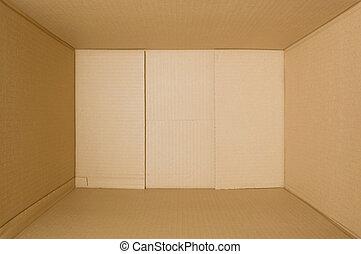 interior, um, papelão, box.